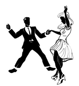 Silhouette of a man and a woman dancing